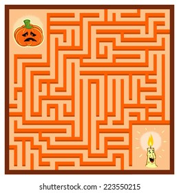 Pumpkin's Maze Game (help the halloween carved Pumpkin find its Candle - Maze vector puzzle)