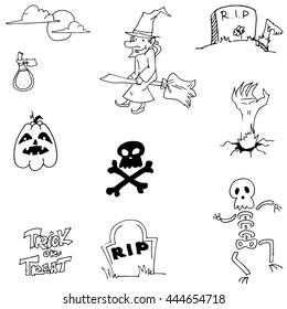 Pumpkins skul witch Halloween doodle vector illustration