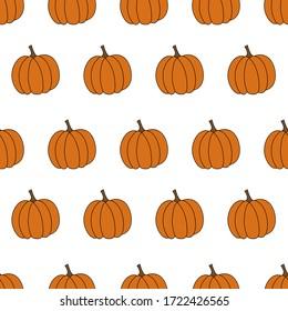 Pumpkins. Vegetable. Vector flat illustration. Seamless pattern.