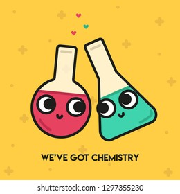 "Pun Postcard. Cute vector illustration with funny quote. ""We've got chemistry"""