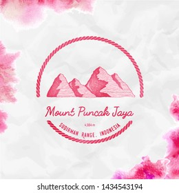 Puncak Jaya logo. Round trekking red vector insignia. Puncak Jaya in Sudirman Range, Indonesia outdoor adventure illustration.