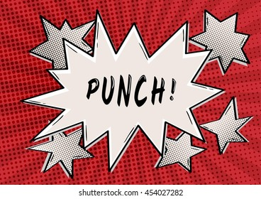 PUNCH bubble in retro comic style on red background