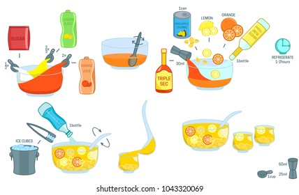 Punch Cocktail recipe ingredients isolated vector colorful illustration