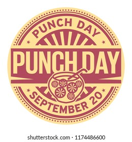 Punch Day, September 20, rubber stamp, vector Illustration