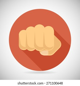 Punch Fist Hand Palm Icon Social Power Courage Determination Symbol Concept Flat Design Vector Illustration