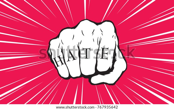 Punch fist with hate message