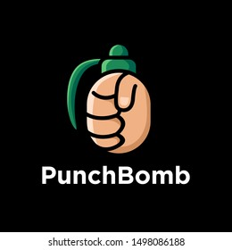 Punch and grenade logo design. Black isolated background. Minimalistic logo design. Creative logo. Beautiful and simple element