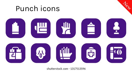 punch icon set. 10 filled punch icons.  Simple modern icons about  - Gloves, Punching ball, Punching bag, Scream, Boxer