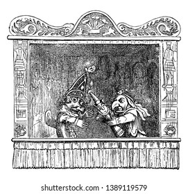 Punch and Judy Show including Punch, Judy and their child in this picture, vintage line drawing or engraving illustration.