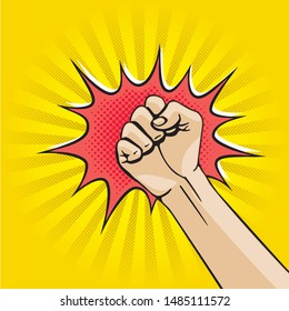 Punch Retro Comic Cartoon Style Creative Concept with Raised Hand Clenched into Fist Sign Rays Circle and Burst out Speech Bubble - Black and Red on Yellow Background - Vector Hand Drawn Design