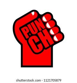 Punch symbol. Fist sign lettering. Vector illustration
