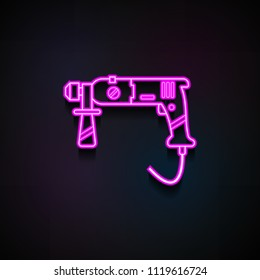 puncher icon. Element of Home repair tool icons for mobile concept and web apps. Neon puncher icon can be used for web and mobile apps on dark gradient background