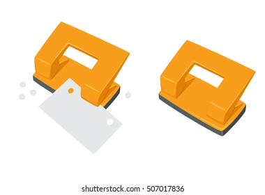 Punches pierce paper. Process of staples documents. Office work tool cartoon vector illustration. Working  education, business concept.