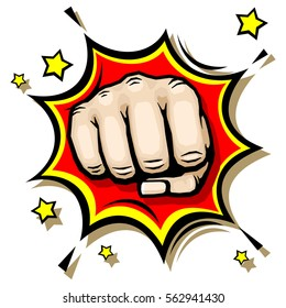 Punching hand with clenched fist vector illustration. Strength and anger revolt illustration