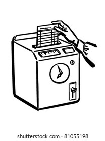 Punching The Time Clock - Retro Clipart Illustration