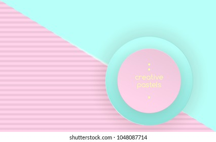 Punchy Pastels Vector Abstract Background Texture Design, Pastels Poster,  Blue Candy Geometric Figures Pattern in Modern Hipster Style. Minimalistic Pastel Colors.