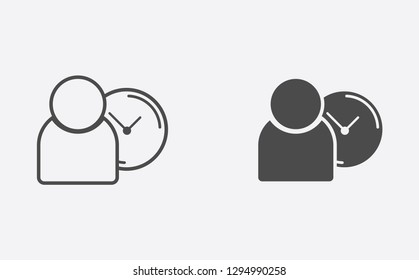 Punctuality filled and outline vector icon sign symbol