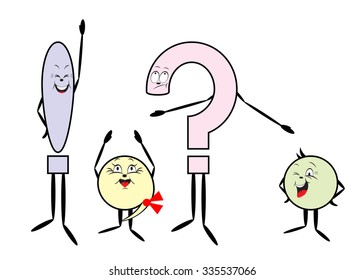 punctuation marks. Color punctuation marks, question mark, exclamation mark, point, comma