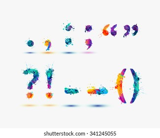 Punctuation marks in rainbow splash paint