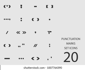 Punctuation marks set of flat icons. Simple vector illustration