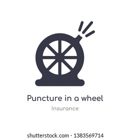 puncture in a wheel icon. isolated puncture in a wheel icon vector illustration from insurance collection. editable sing symbol can be use for web site and mobile app