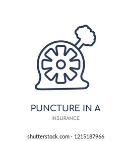 Puncture in a wheel icon. Puncture in a wheel linear symbol design from Insurance collection.