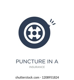Puncture in a wheel icon. Trendy flat vector Puncture in a wheel icon on white background from Insurance collection, vector illustration can be use for web and mobile, eps10