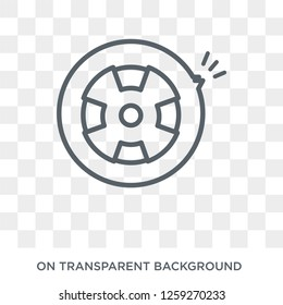 Puncture in a wheel icon. Trendy flat vector Puncture in a wheel icon on transparent background from Insurance collection. High quality filled Puncture in a wheel symbol use for web and mobile