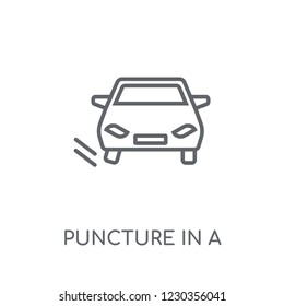 Puncture in a wheel linear icon. Modern outline Puncture in a wheel logo concept on white background from Insurance collection. Suitable for use on web apps, mobile apps and print media.