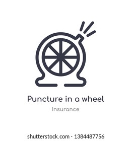 puncture in a wheel outline icon. isolated line vector illustration from insurance collection. editable thin stroke puncture in a wheel icon on white background
