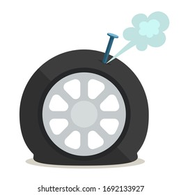 Punctured car tyre, flat tire. Nail or screw in the auto tyre. Vector illustration, flat design element, cartoon style, isolated on white background.