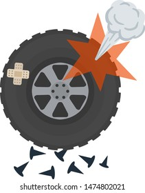 Punctured wheel. Pump, plaster and nails. Crack in the tire. Broken car. work of service center. Problem on road.