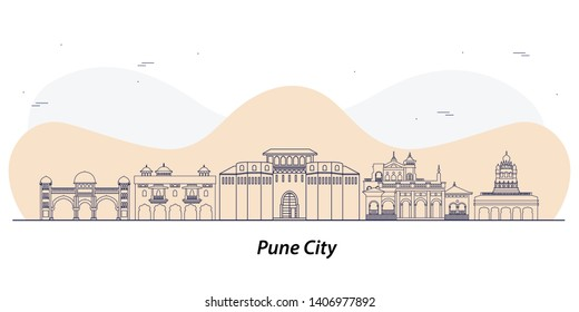 Pune city skyline line art vector
