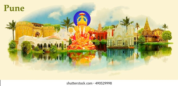 PUNE city water color vector panoramic illustration
