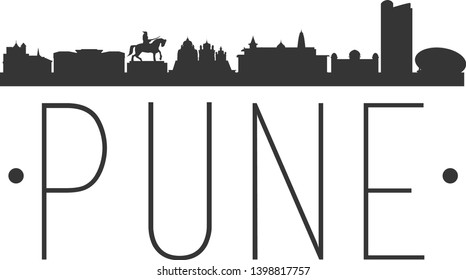 Pune India. City Skyline. Silhouette City. Design Vector. Famous Monuments.