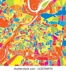 Pune, India, colorful vector map.  White streets, railways and water. Bright colored landmark shapes. Art print pattern.