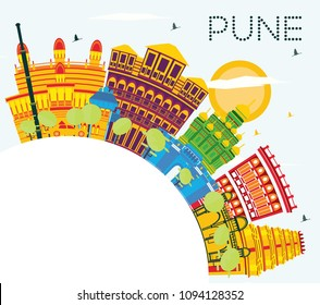 Pune India Skyline with Color Buildings, Blue Sky and Copy Space. Vector Illustration. Business Travel and Tourism Concept with Historic Buildings. Pune Cityscape with Landmarks.