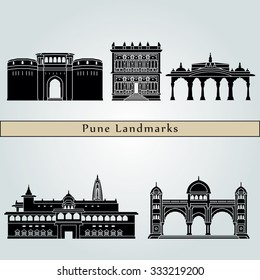 Pune landmarks and monuments isolated on blue background in editable vector file