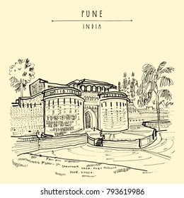 Pune (Puna, Poona), Maharashtra, India. Shaniwar Wada fort, historical place, built in 1732. Travel sketch art. Vintage hand drawn postcard in vector