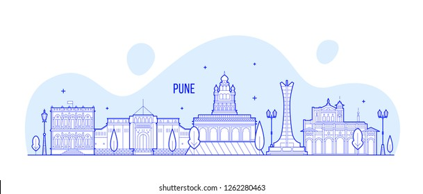 Pune skyline, Maharashtra, India. This illustration represents the city with its most notable buildings. Vector is fully editable, every object is holistic and movable