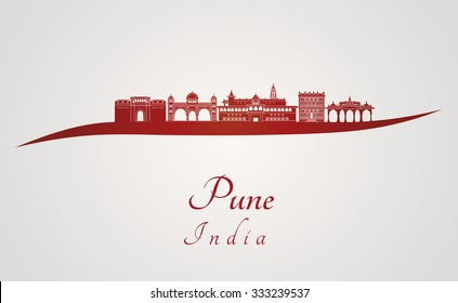Pune skyline in red and gray background in editable vector file