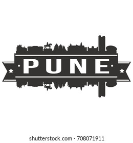 Pune Skyline Silhouette City Vector Design Art