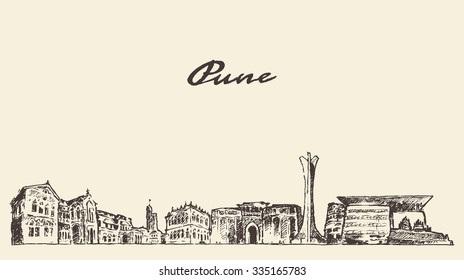 Pune skyline, vector vintage engraved illustration, hand drawn