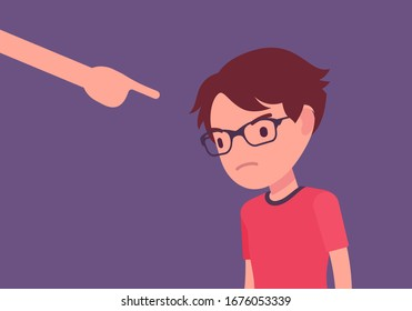 Punishment for boy, adult finger pointing to guilt, punish. Strict discipline strategies to control child behavior, physically or emotionally damaging method. Vector flat style cartoon illustration
