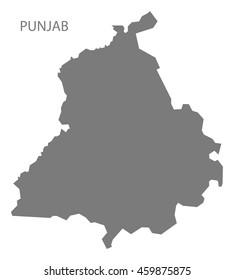 Punjab India Map grey
