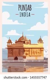 Punjab retro poster. Harmandir-Sahib Punjab travel illustration. States of India greeting card.