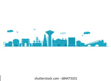 Punjab Skyline. Detailed Vector illustration. Isolated on white background.
