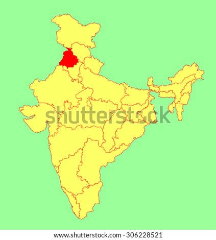 Punjab World Map.Punjab State India Vector Map Silhouette Stock Vector Royalty Free