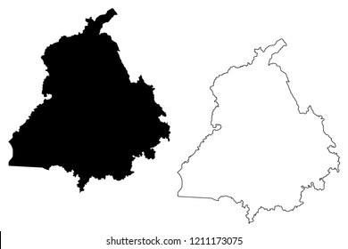 Punjab (States and union territories of India, Federated states, Republic of India) map vector illustration, scribble sketch Punjab state map