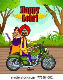 Punjabi cartoon style illustration for Punjabi festivals
